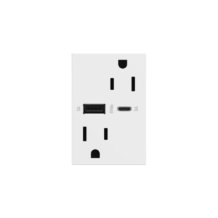 adorne USB Type A/C outlet in white