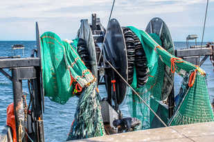 Twin trawls on the stern of the F/V Karen Elizabeth