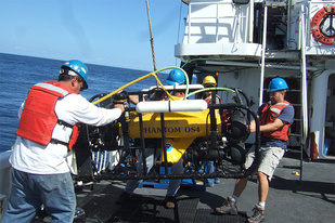Scientists launch remotely operated underwater vehicle