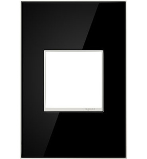 adorne® Mirror Black One-Gang Screwless Wall Plate