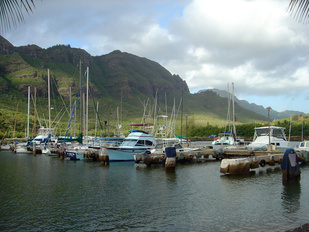 Fishing vessels at Nawiliwili Harbor on Kauai.