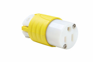 15A, 125V Extra-Hard Use Spec-Grade Corrosion-Resistant Connector, Yellow & White
