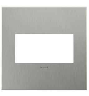 adorne® Brushed Stainless Two-Gang Screwless Wall Plate