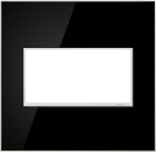 adorne® Mirror Black Two-Gang Screwless Wall Plate