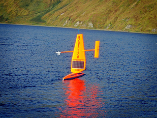 A Saildrone starts its journey out to Bristol Bay propelled only by the wind