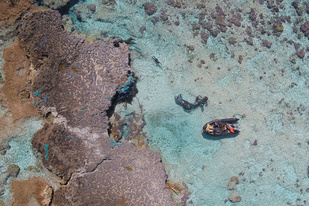 Aerial image of the team removing derelict fishing nets from the reef at Midway Atoll
