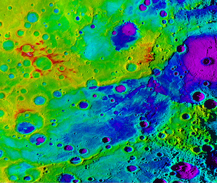 "Using colorized topography, Mercury's ""great valley"" (dark blue) and Rembrandt impact basin (purple, upper right) are revealed in this high-resolution digital elevation model merged with an image mosaic obtained by NASA's MESSENGER spacecraft. Image credit: NASA/JHUAPL/Carnegie Institution of Washington/DLR/Smithsonian Institution (Click image to download hi-res version)"