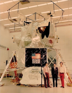 John Giganti, Jean-Paul Richard and engineering alumnus Jerry Larson in 1972 posing in front of the Apollo 17 landing module that carried the Lunar Surface Gravimeter to the moon. Courtesy of John Giganti. (Click to image download hi-res version.)
