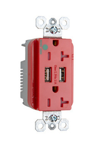 Hospital-Grade USB Charger with Tamper-Resistant 20A Duplex Receptacles, Red