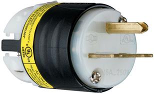 15A, 250V EHU GCM Plug, Black & White