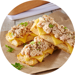 Cheesy Bread Fingers with Tuna Topping