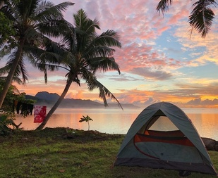 The QUEST program campsite at Nuʻuʻuli, American Samoa (Photo: NOAA Fisheries/Ali Bayless).