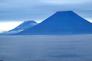View of Aleutian Islands from boat.