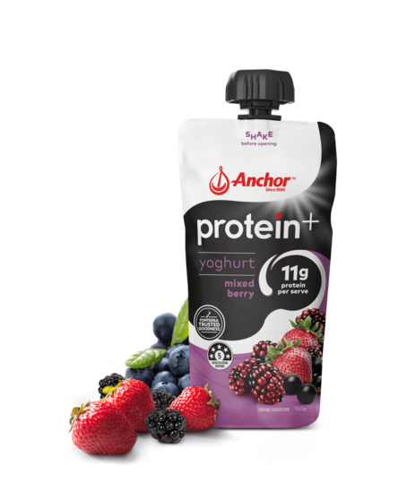 Anchor Protein+ Mixed Berry Yoghurt Pouch 150g