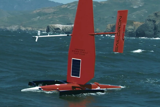 A saildrone on the water