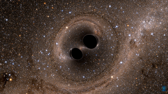 The collision of two black holes—a tremendously powerful event detected for the first time ever by the Laser Interferometer Gravitational-Wave Observatory, or LIGO on September 14, 2015—is seen in this still from a computer simulation. LIGO detected gravitational waves, or ripples in space and time generated as the black holes spiraled in toward each other, collided, and merged. This simulation shows how the merger would appear to human eyes. It was created by solving equations from Albert Einstein's general theory of relativity using the LIGO data. Illustration: SXS, The Simulating eXtreme Spacetimes Project. (Click image to download hi-res version.)