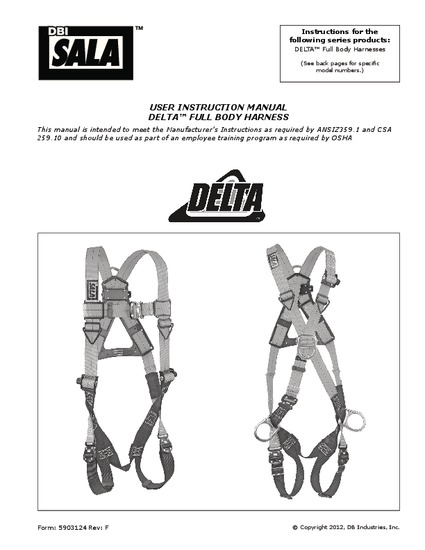 5903124 Delta III Full Body Harnesses Instruction: English