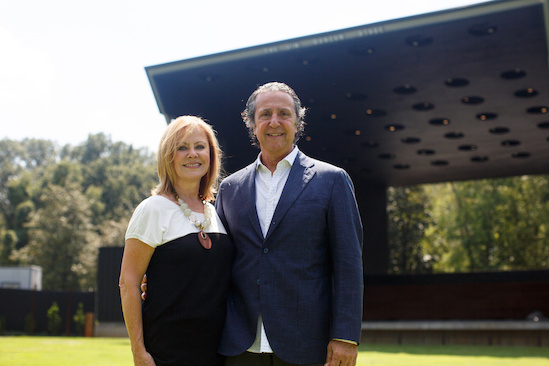 MFWF founders Sherry and Bob Chimenti, near the stage at the Live Garden.
