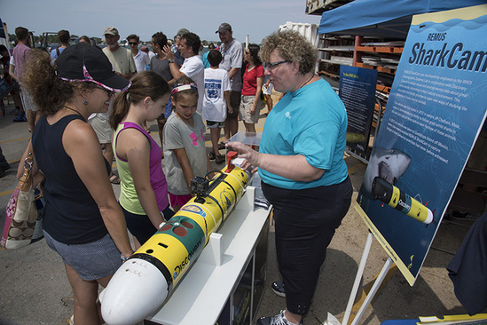 Sharkcam, an autonomous underwater vehicle designed to track and film sharks, on display