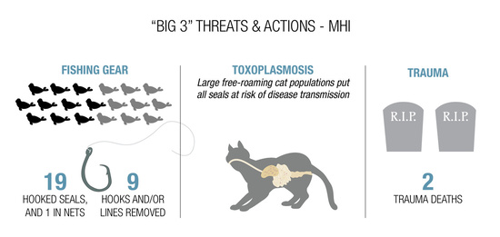 Infographic showing threats and actions in the main Hawaiian Islands
