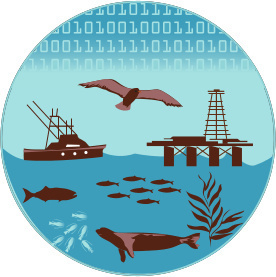 A circular diagram depicting an ocean with a fishing boat and an oil platform, seabirds, seals, fish of many sizes, plankton, and kelp. At the top, a series of 0 and 1 sequences represent binary code indicating that the Atlantis model simulates all of these ecosystem processes and activities.