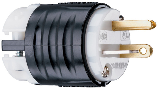 20A, 125V Extra-Hard Use Spec-Grade Plug, Black & White