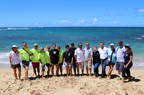 The group of researchers and biologists from NOAA Fisheries and the Maui Ocean Center Marine Institute work together to recover and protect sea turtles.