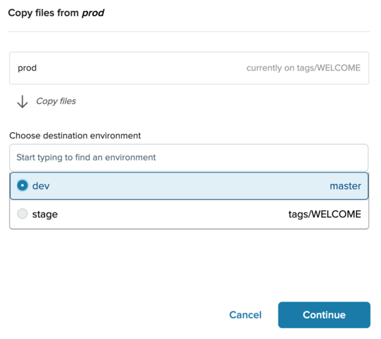 Copy files to a different environment