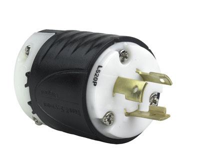20 Amp NEMA Plug L520 - Black Back, White Front Body