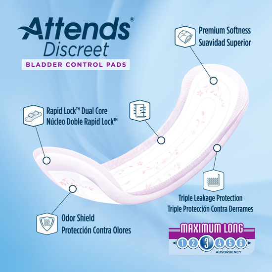 Attends Discreet Women's Maximum Long Pads