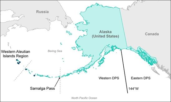 Map showing range of Western DPS and Eastern DPS of Steller sea lions