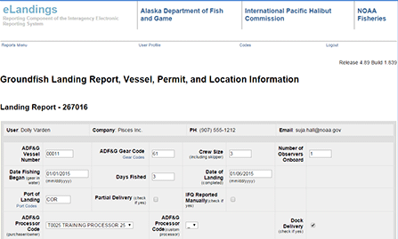 Groundfish Landing report, vessel, permit, and location information.