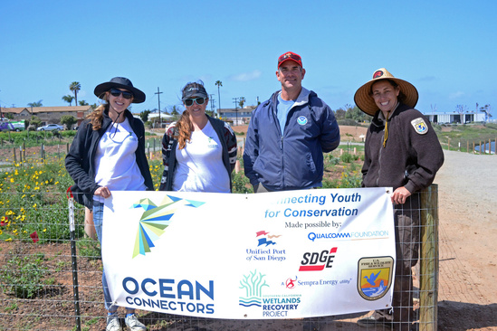 Marine Turtle Ecology & Assessment Program staff with representatives from U.S. Fish & Wildlife Service and the NGO Ocean Connectors at a coastal restoration site in southern San Diego Bay. Photo: NOAA Fisheries