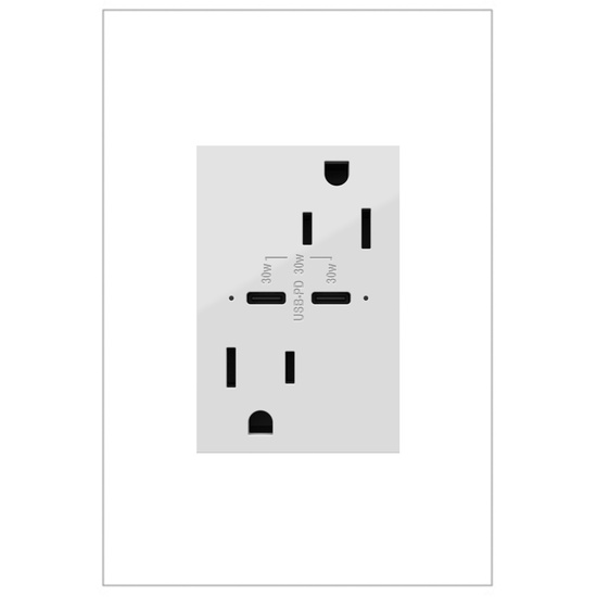 adorne 15A Tamper Resistant Receptacle Ultra Fast 30A Power Delivery USB