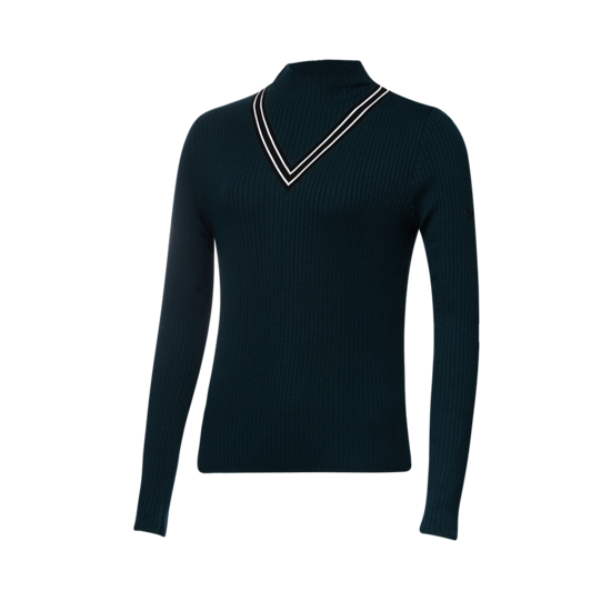 V넥 포인트 골지 여성 스웨터