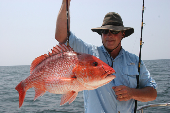 Angler with red snapper.