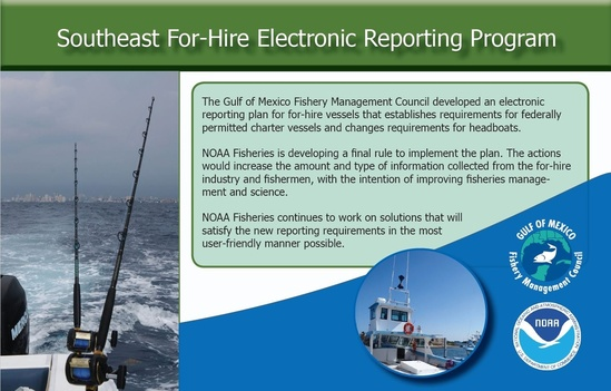 The Gulf of Mexico Fishery Management Council developed an electronic reporting plan for for-hire vessels that establishes requirements for federally permitted charter vessels and changes requirements for headboats. NOAA Fisheries is developing a final rule to implement the plan. The actions would increase the amount and type of information collected from the for-hire industry and fishermen, with the intention of improving fisheries management and science. NOAA Fisheries continues to work on solutions that will satisfy the new reporting requirements in the most user-friendly manner possible.