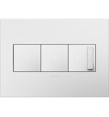Legrand Adorne 3-Gang Gloss White Square Paddle Switch Wall Plate AWP3GWH4