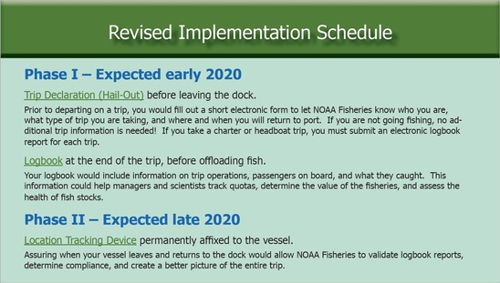 Phase I – Expected early 2020 Trip Declaration (Hail-Out) before leaving the dock. Prior to departing on a trip, you would fill out a short electronic form to let NOAA Fisheries know who you are, what type of trip you are taking, and where and when you will return to port. If you are not going fishing, no additional trip information is needed! If you take a charter or headboat trip, you must submit an electronic logbook report for each trip. Logbook at the end of the trip, before offloading fish. Your logbook would include information on trip operations, passengers on board, and what they caught. This information could help managers and scientists track quotas, determine the value of the fisheries, and assess the health of fish stocks. Phase II – Expected late 2020 Location Tracking Device permanently affixed to the vessel. Assuring when your vessel leaves and returns to the dock would allow NOAA Fisheries to validate logbook reports, determine compliance, and create a better picture of the entire trip.