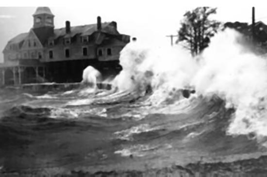 Wave crashing during the 1938 hurricane.