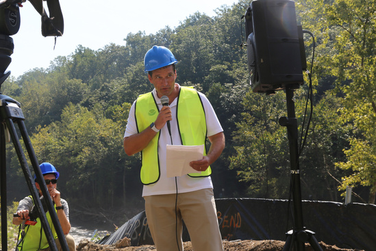 NOAA Chief of Staff, Stu Levenbach speaks at the Bloede Dam removal celebration event..jpg