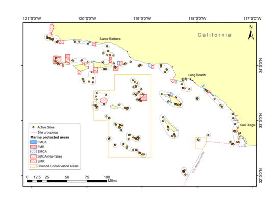 A map showing sampling sites in yellow circles. Protected areas are outlined in red, blue, and yellow squares.