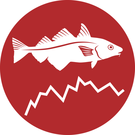 Small icon of haddock and graph line illustration for stock assessment.