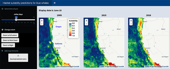 Screenshot of new research tool used for predicting habitat suitability for blue whales.