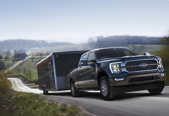 Ford F-150 towing trailer uphill