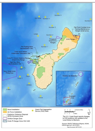 Nearshore danger and exclusion zones map
