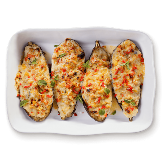 Stuffed Cheesy Eggplant