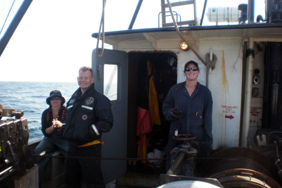 Crew members on board the Gloria Michelle,