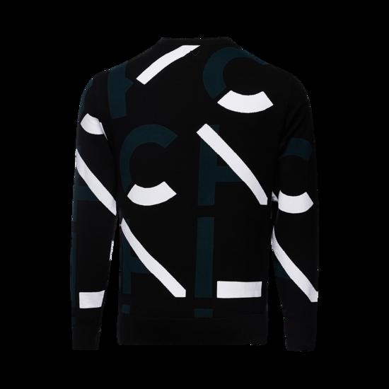 로고 패턴 남성 라운드 스웨터