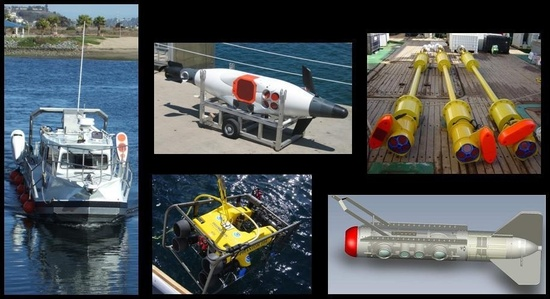 Various advanced survey technologies: a ship, various acoustics equipment and remotely operated vehicles.
